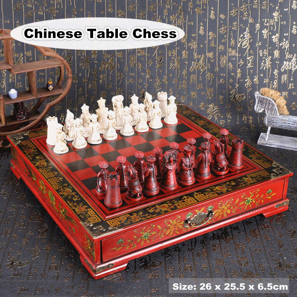 32Pcs/Set Wood Chess Chinese Retro Terracotta Chessman Chess Wood Do Old Carving Resin Chessman Birthday Christmas Gift