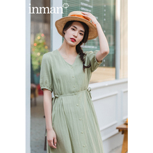 INAMN 2020 Summer New Arrival V-neck Two Flanks Bowknot Nipped Waist Single-breasted Short Sleeve Pl