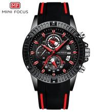 MINI FOCUS Luxury Brand Watch Men Waterproof Fashion Sport Clock Mens Wristwatches Quartz Relogio Masculino Black Silicone Strap