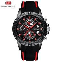 MINI FOCUS reloj de lujo para hombre, deportivo, resistente al agua, de pulsera, de cuarzo, correa de silicona negra