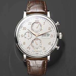 Image 3 - Marque de luxe suisse LOBINNI hommes montres calendrier perpétuel Auto mécanique hommes horloge saphir cuir relogio L13019 9