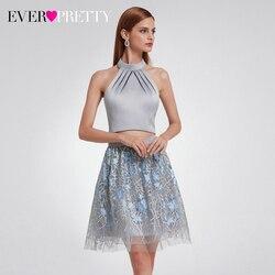 Сексуальное серое платье для выпускного вечера Ever Pretty EP05936GY А-силуэт с лямкой на шее, с рюшами, Тюлевое Выпускное Платье Vestidos Cortos 2020