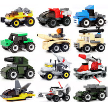 Children Mini Military Transportation toy Tank plane Car Motorcycle Building Blocks City Military Technic playmobil Toy for kids(China)