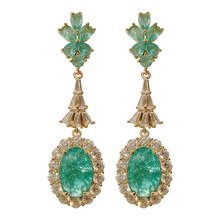 Fashion Vintage Style  Green Earring for Women with Broken Cubic Zirconia