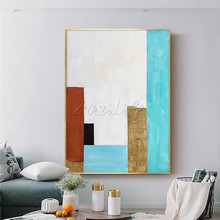 Modern Abstract Geometric Gold Blue Black White Grey Painting Acrylic Wall Art Pictures Canvas Home Decor