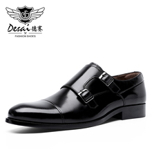 DESAI fait à la main hommes en cuir véritable robe de haute qualité Design italien marron bleu couleur poli à la main bout pointu chaussures de mariage