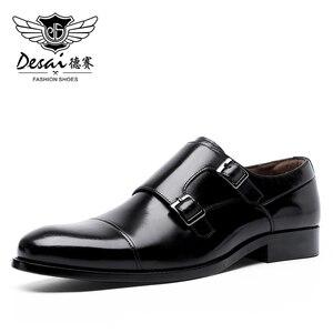 Image 1 - DESAI fait à la main hommes en cuir véritable robe de haute qualité Design italien marron bleu couleur poli à la main bout pointu chaussures de mariage