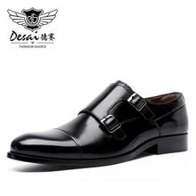 Desai feito à mão dos homens vestido de couro genuíno de alta qualidade design italiano marrom cor azul mão polido apontou toe sapatos de casamento