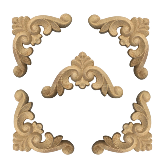 4 Pcs Wood Carved Corner Onlay Applique Frame for Home Furniture Wall Cabinet Door Decor CraftsMINI Letras Decorativas 5