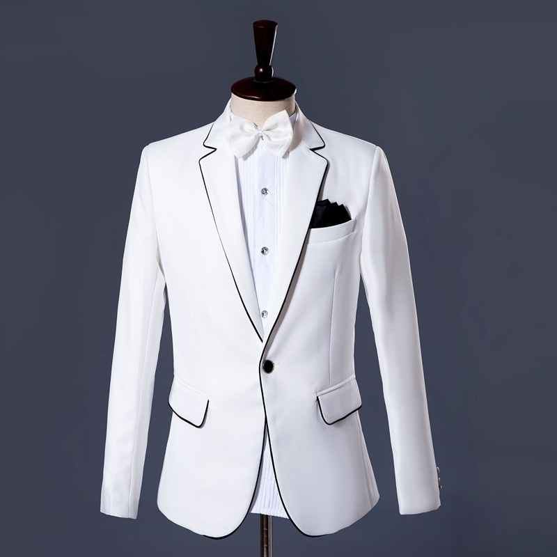 Mens White Formal Wedding Dress Suit Stage Show Costume Outfits Groom Slim Fit Blazer Jacket Pants Office Party Two Piece Set
