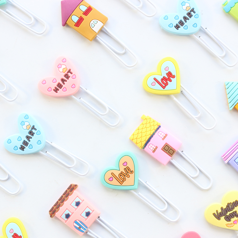 Domikee Creative Cute Korea Kawaii Metal School Binder Paper Clips Fine Student Kids Bookmark Set Gift Stationery Supplies,3pcs