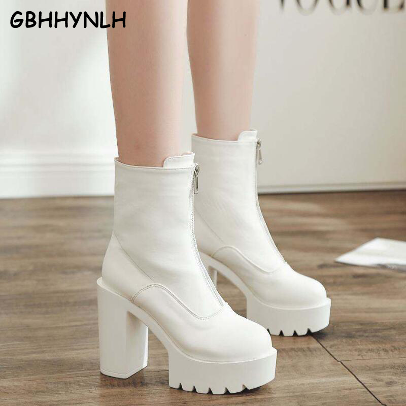 GBHHYNLH cowboy boots Platform shoes Ankle Boots Women Chunky Heels women Short snow Shoes rubber white LJA822
