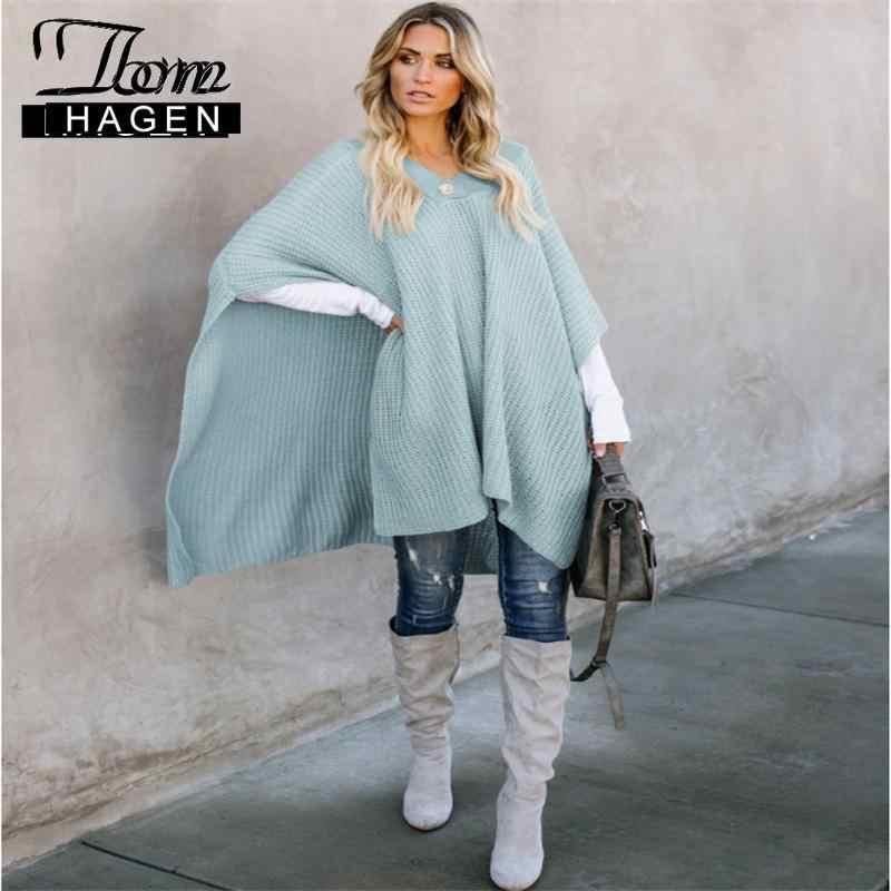 Tom Hagen bayan pelerin kış 2020 artı boyutu ince pelerin palto panço V boyun pelerin uzun örme ceket kore sıcak lüks gri ceket