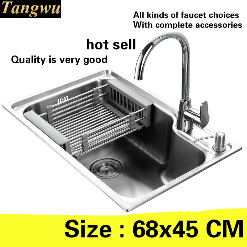 Free Shipping  Luxury Kitchen Sink Durable 0.8 Mm 304 Stainless Steel Hot Sell 680x450 MM