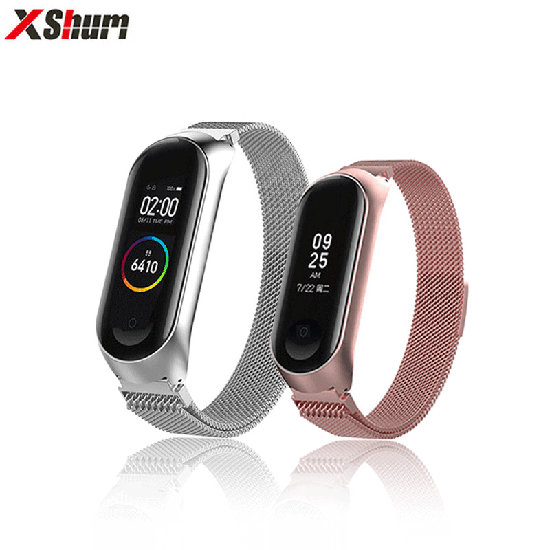 XShum mi band 4 bracelet Strap For Metal Milanese Xiaomi Mi Band 3 miband 4/3 Magnetic Strap Replacement Smart Accessories ethernet cable