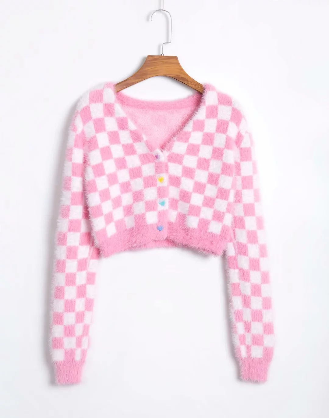 Vintage argyle knitted cardigans women sweaters kawaii mohair sweater winter korean sweater clothes 2020 new 8