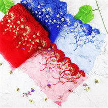 1 yard colorful embroidery lace fabric 18CM wide trim DIY craft sewing lace-trimmed clothing