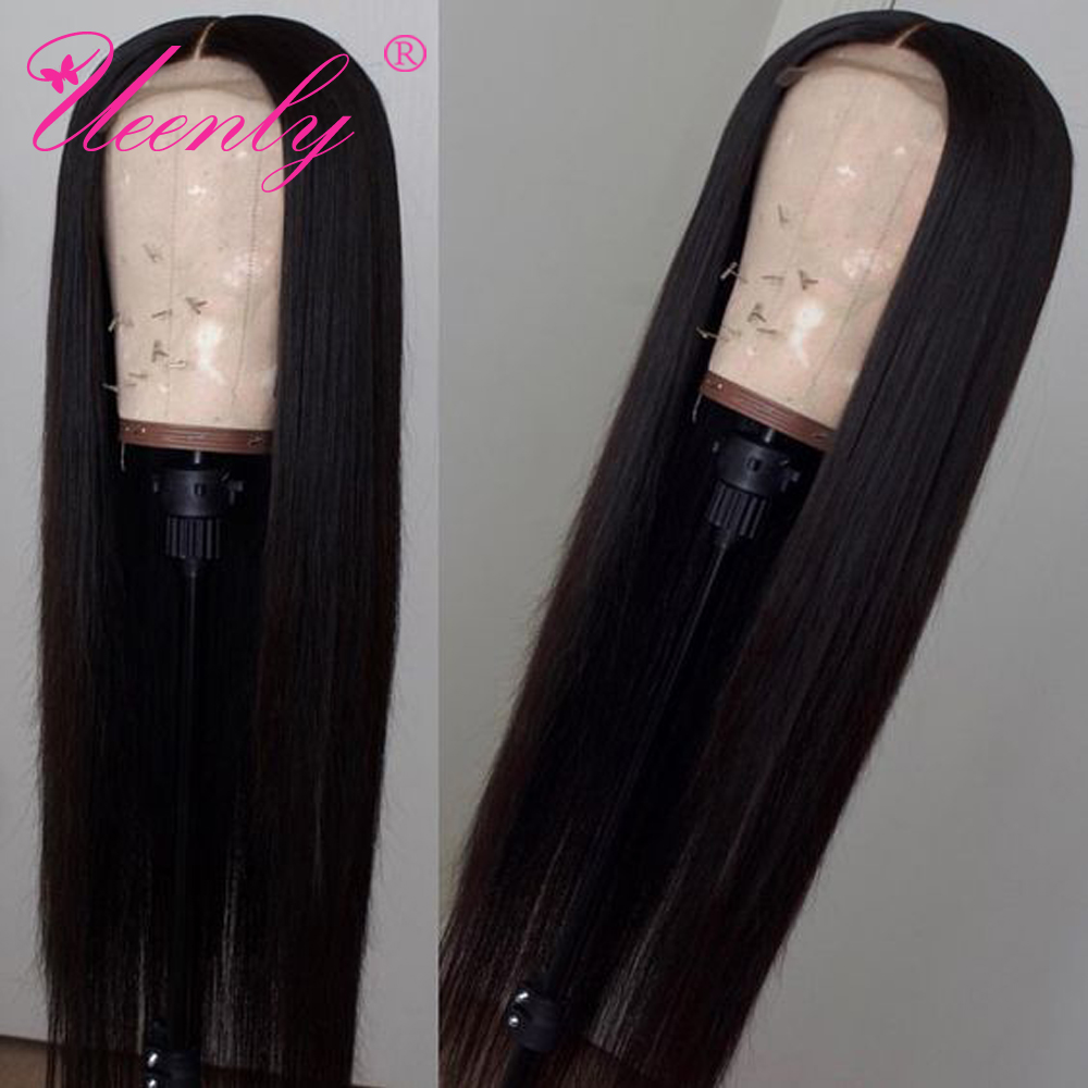 H4c465e4ca961445a9fccfabdd4962b840 UEENLY 4x4 Closure Wig Brazilian Straight Lace Closure Human Hair Wigs Pre Plucked With Baby Hair Remy Hair Closure Wigs