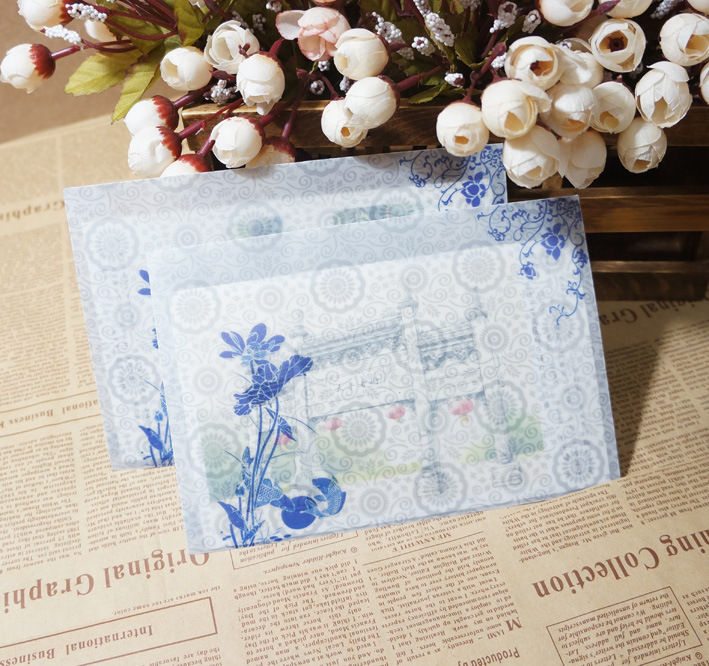 Sui Yue Fang Translucent Hazy Chinese-style Sulfuric Acid Paper Envelope Of Blue Pattern Bearing Case