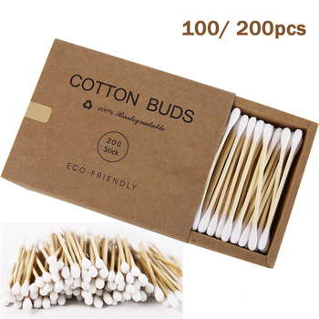 100-200pcs Double Head Cotton Swab Bamboo Cotton Swabs Wood Sticks Disposable Buds Cotton for Nose Ears Cleaning Tools