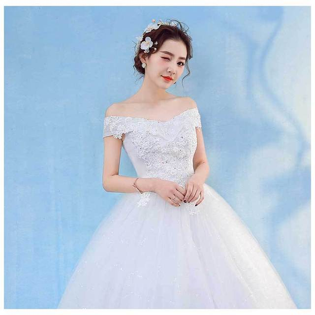 HMHS-090#White Boat Neck Bride Wedding Dress Ball Gown Lace Up Wholesale Party Dresses Luxury Sequins Free delivery some country 4