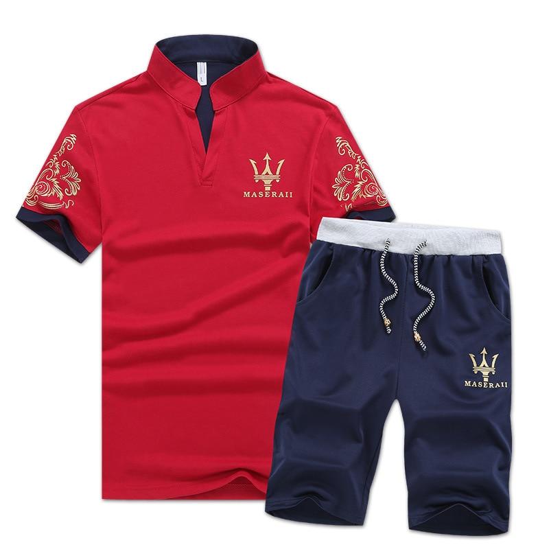 Korean-style Fashion Summer Wear Stand Collar Short Sleeve Shorts MEN'S Polo Shirt New Style Set Casual Versatile Sports Fashion