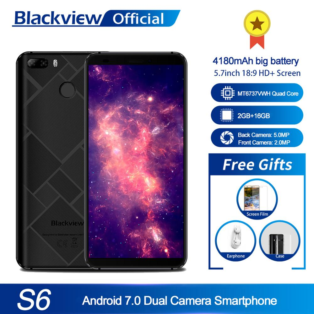 Blackview S6 Cell Phone 4180mAh 5.7 inch HD+ Sceen mobile phone 2GB+16GB Quad Core Android 7.0 Dual Back Camera Smartphone Cellphones     - title=
