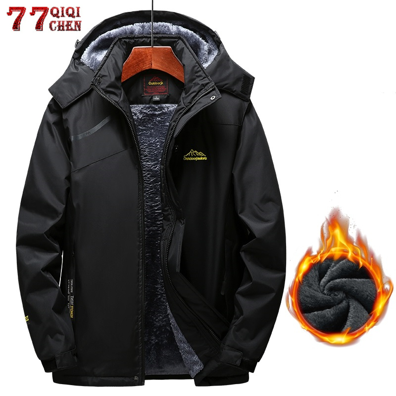 Winter Fleece Jacket Men Thick Velvet Warm Parka Casual Hooded Coats Waterproof Windproof Mountain Military Jacket 5XL Overcoat