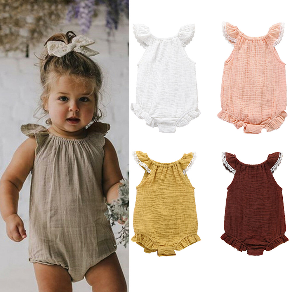 Baby Boy Girl Short Sleeve   Romper   2019 Newest Newborn Baby Girl Cotton   Romper   Solid Color Ruffles Jumpsuit Outfit Summer Clothes