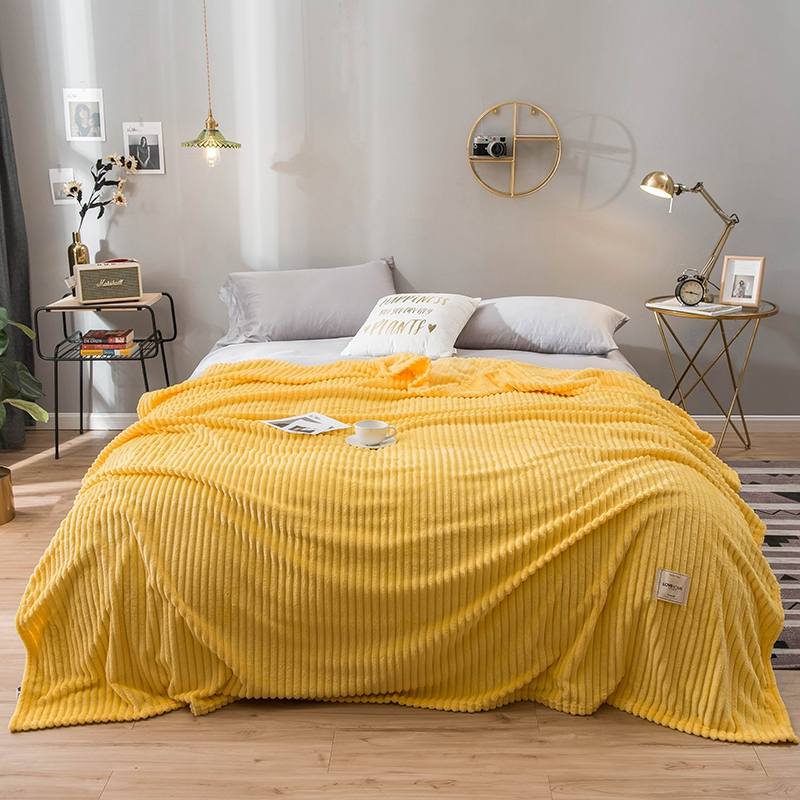 Yaapeet Blankets For Beds Solid Color Soft Warm Square Flannel Blanket On The Bed Thickness Throw For Sofa Blanket