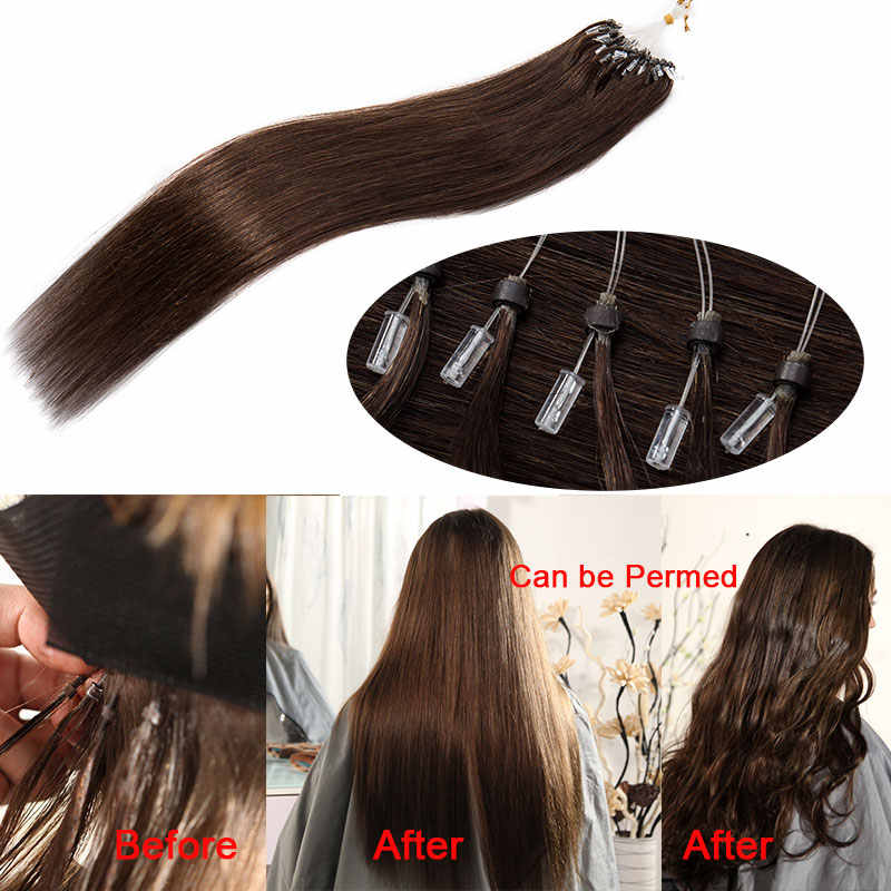 """SEGO 1g/s 50pcs 16""""-24"""" Micro Rings Beads Loop Hair Extensions 100% Real Human Hair Non-Remy Straight Brazilian hair"""