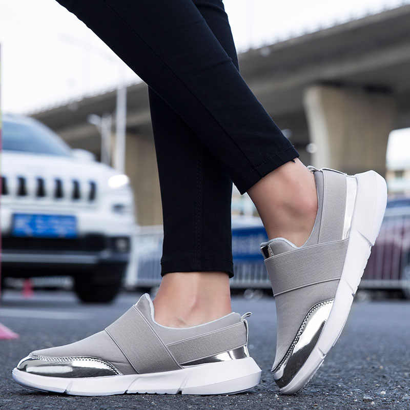 Frühling Frauen Slip Auf Loafers Damen Sheos Frau Beiläufige Komfortable Sneakers Wohnungen Weibliche Atmungsaktive Stretch Tuch Schuhe Mode