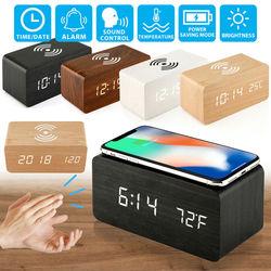 Despertador digital de madeira led 2 em 1, termômetro e carregador sem fio com led, plataforma de carregamento