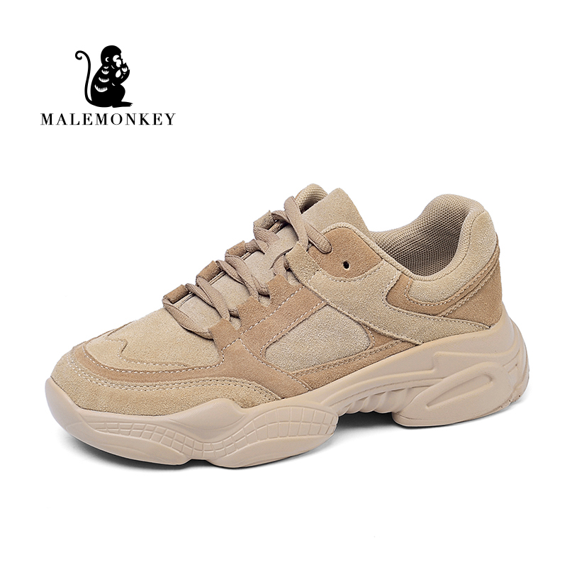 Malemonkey 932555 Casual Sneakers 2020 Thick Sole Lady Leisure Shoes Lace Up Comfortable Women Chunky Sneakers