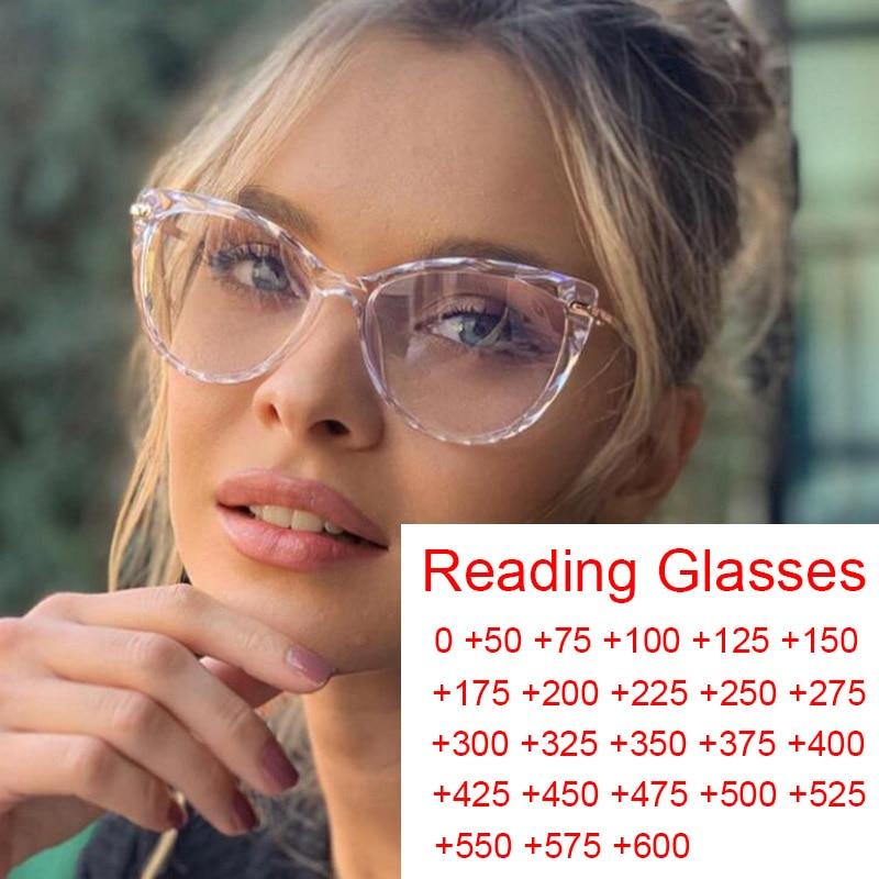 Bereit-Made Transparent Cat Eye Lesebrille Damen 2021 Anti Blau Licht Brillen Rahmen Mode Spiel Punkte Plus 0 zu 6 Oculo