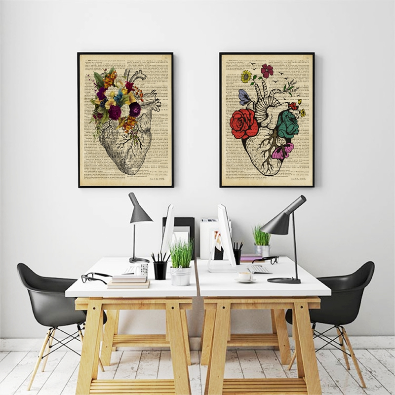 floral human heart wall prints office decor