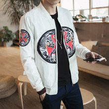 Casual Lange Mouwen Stand Kraag Bomber 2020 Lente Herfst Man Jas Losse Jas Dragon Patroon Brand New Borduren Mens(China)