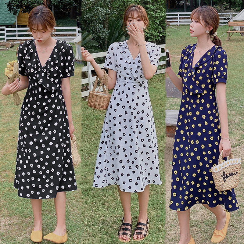 Women Long Chiffon Floral Dress Summer 2020 Runway Elegant Korean Casual Party Dress Boho Vintage Vacation Dresses Black White