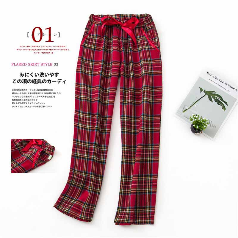 2019 Autumn And Winter New Sleep Bottom Men And Women Sleep Pants Red Plaid Comfort Cotton Soft Loose Homewear Pants