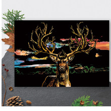 41*28cm Animal Scratch Painting Cards Deer Diy Art Adult Crafts for Adults Scratch Paper Home Decor Drawing Decompression Toys