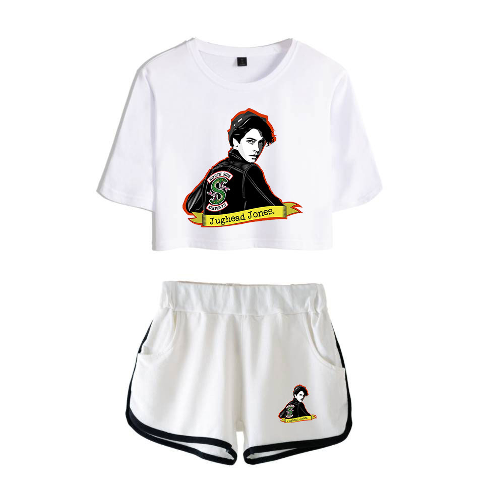 Riverdale Pop Women's Fashion High Quality Two-Piece Set Riverdale Short Sleeve White Bare Navel T-Shirt + White Shorts Set