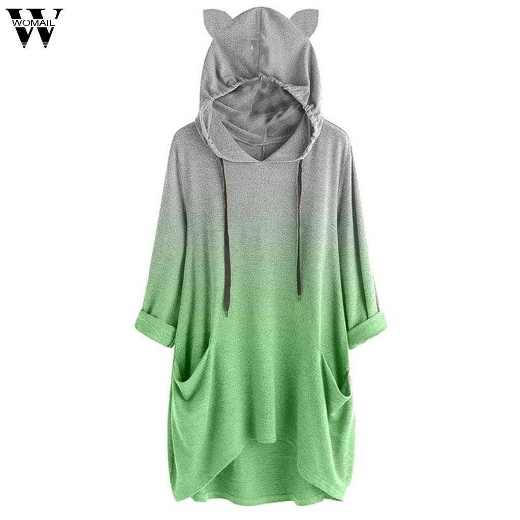 Womail свитшоты женские с длинным рукавом градиентный цвет кошачьи ушки Осень Полный пуловер с капюшоном принт Женская Толстовка Sudadera S-L3