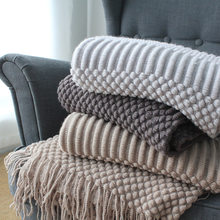 Knitted Decorative Throw Blanket with Tassel Sofa Plaid Photography Props Cobertor Manta 130x160cm 105x150cm(China)