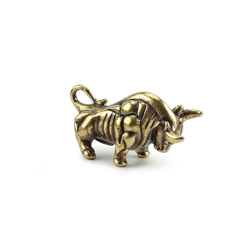 Brass Bull Pendant Outdoor EDC Keychain DIY Bullfighting Pendant Desktop Small Ornaments