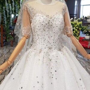 Image 5 - Винтажное свадебное платье HTL966 для невесты, кружевные свадебные платья с коротким рукавом и круглым вырезом, Африканские свадебные платья для женщин 2020 с вуалью, vestido noiva