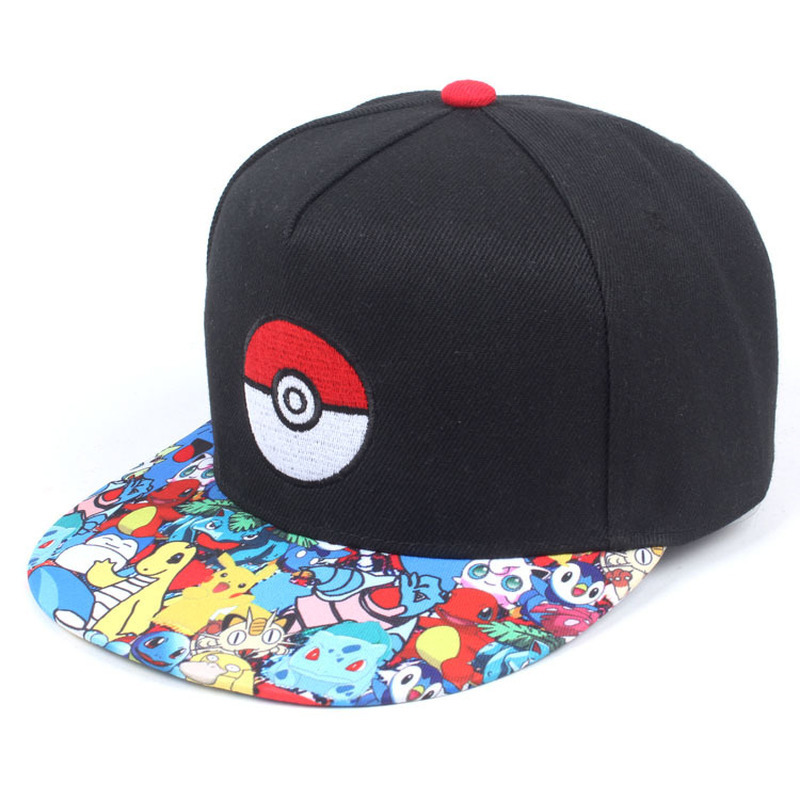 Anime Pokemon Hip Hop Cap Men Cartoon Anime Hip Hop Caps Fashion Adjustable Embroidery Cotton Snapback Baseball Caps For Male