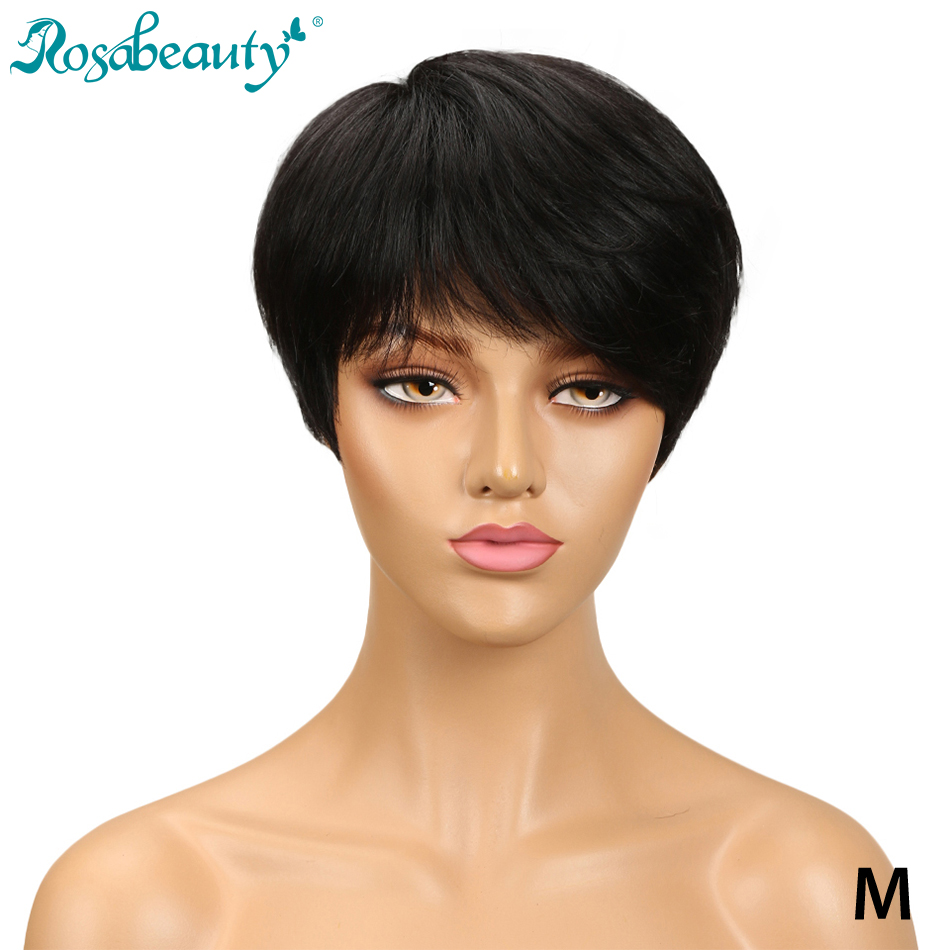 Rosabeauty Short Straight Hair Wig Peruvian Remy Human Hair Wigs For Black Women Brown Red Mix Color Machine Made Wig