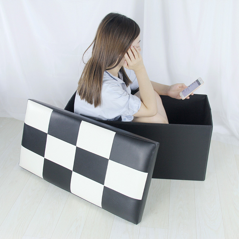Living Room Extra Large Rectangular Storage Box Pu Shoes Storage Stool Box Adult Finishing Box Sofa Stool