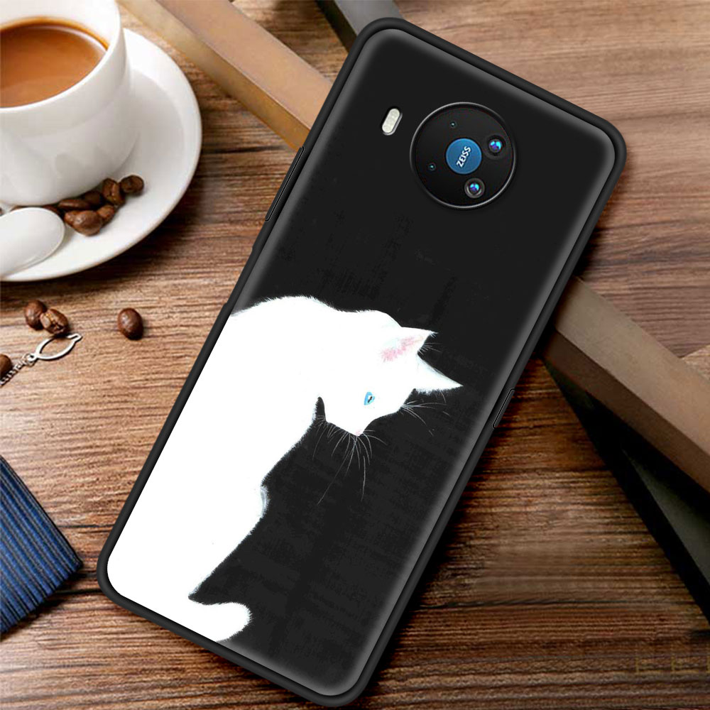 Black And White Simple Cute Cat For Phone Case Nokia 1.3 1.4 2.2 2.3 2.4 3.2 3.4 4.2 5.3 5.4 7.2 8.3 5G C3 C2