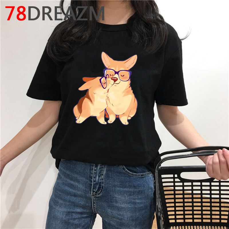 Kawaii Corgi T Shirt Women Summer Top Plus Size Japanese Funny <font><b>Dog</b></font> Graphic T-shirt <font><b>Unisex</b></font> Korean Style Cartoon <font><b>Tshirt</b></font> Female image